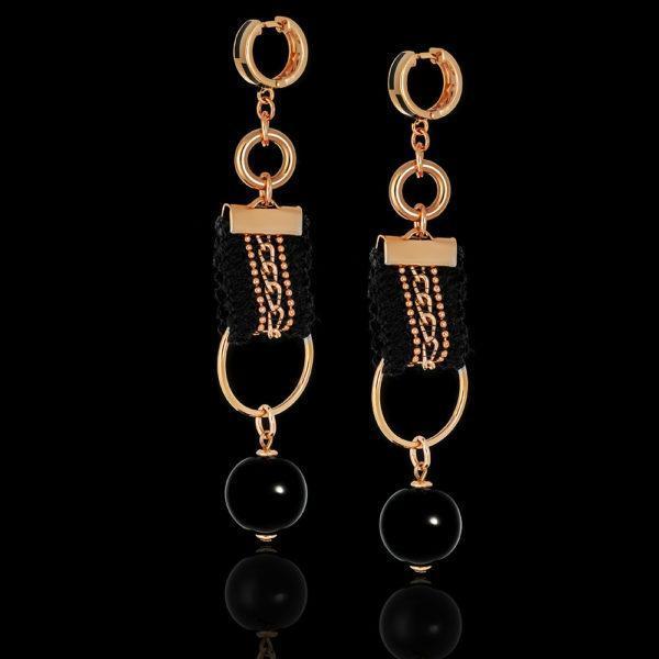 Серьги двойные кольца с текстилем