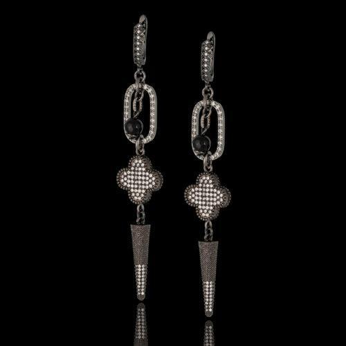 Дизайнерские серьги с кристаллами