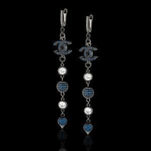 Серьги в стиле Шанель синие