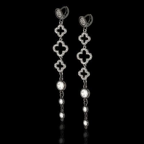 Красивые модные серьги в стиле Ван Клиф с кристаллами
