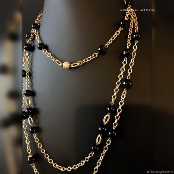 Колье – сотуар из Агата на цепях