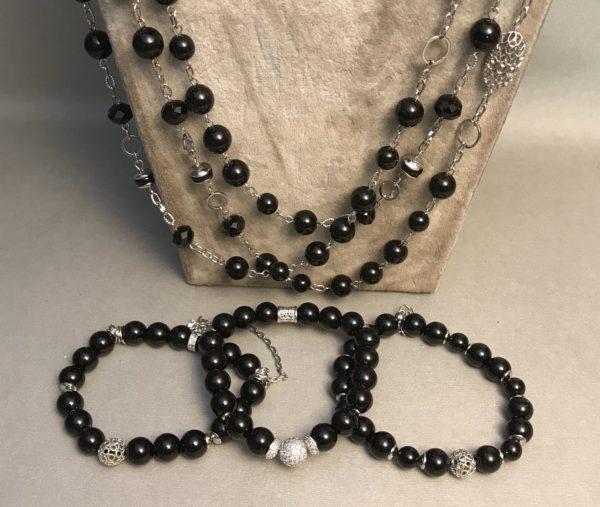 Комплект браслетов черный Агат