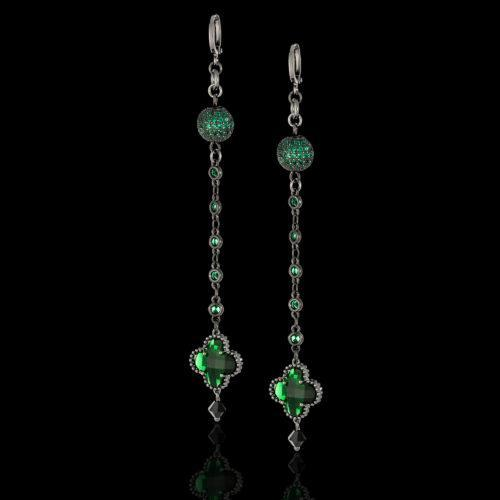 Серьги с зелёными кристаллами