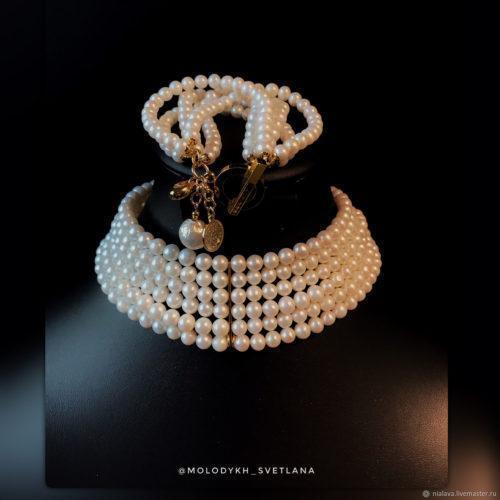 Комплект чокера и браслета из натурального жемчуга