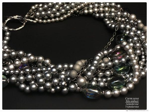 Ожерелье жемчужный гематит