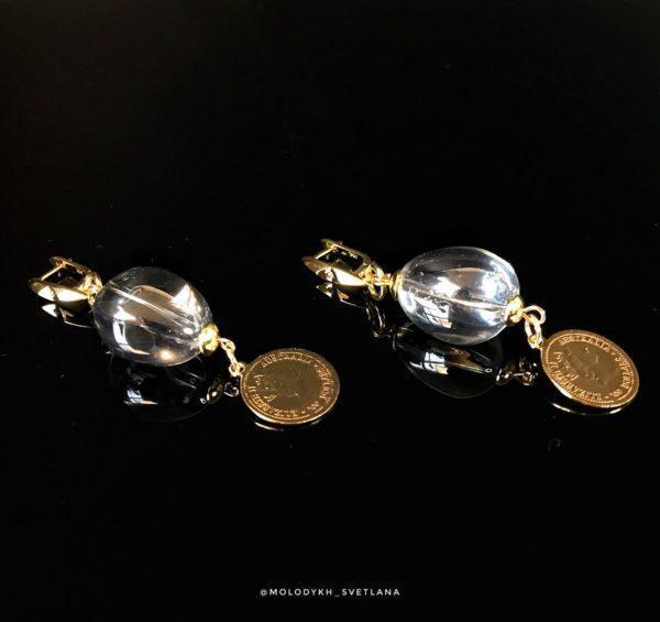 Серьги со стеклом Сваровски и монеткой