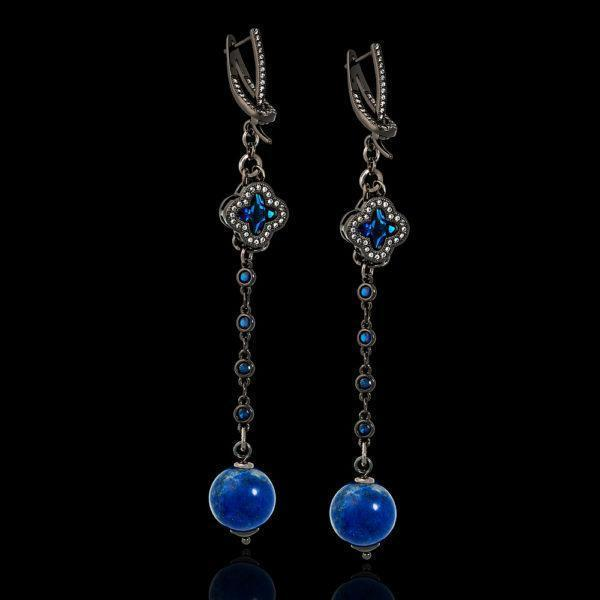 Синие серьги в стиле Ван Клифф