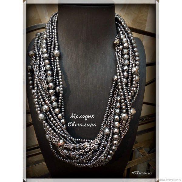 Ожерелье из натурального гематита