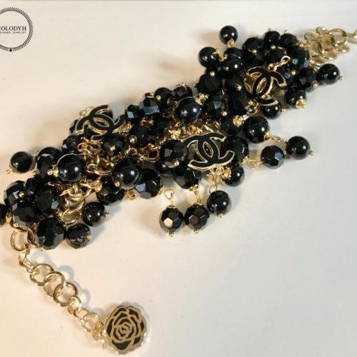 Женский широкий браслет из натуральных камней агата