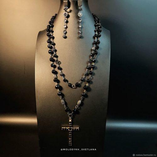 Колье с крестом из Агата и серьги