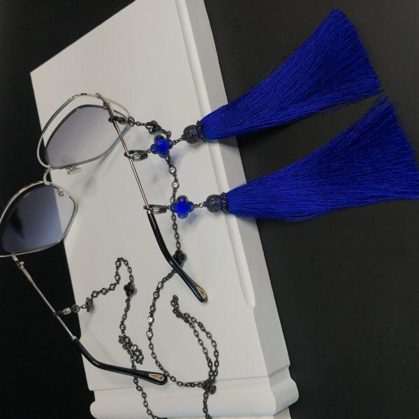 Длинные серьги кисти синие