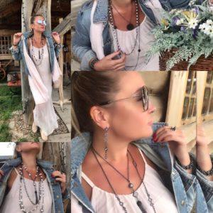Стильные и модные женские образы 2019 с бижутерией на цепях с натуральными камнями и жемчугом колье бусы комплекты браслеты