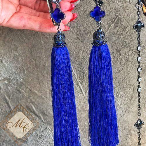 Длинные серьги синие кисти