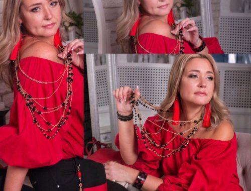 Модный красный луки 2019 украшения из камней фото