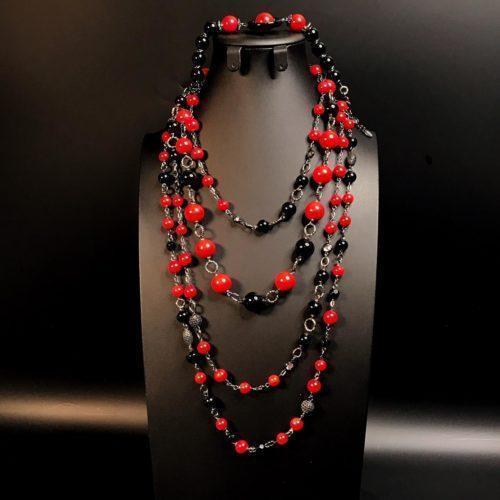 Комплект украшений красное черное