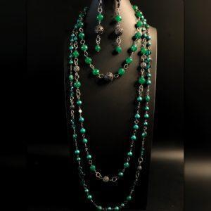 Комплект из зелёных камней и жемчуга майорика (Копировать)