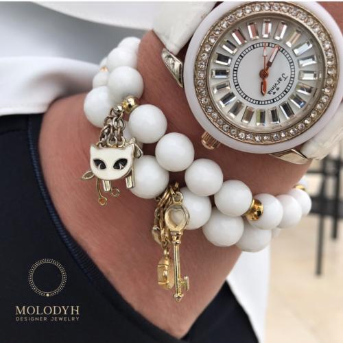 Комплект браслетов из белого Агата