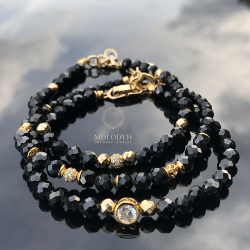Комплект браслетов из черной шпинели