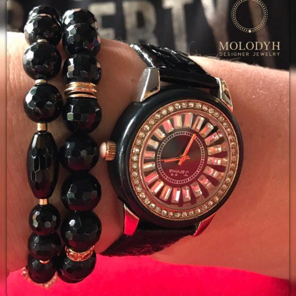 Комплект браслетов из черного Агата