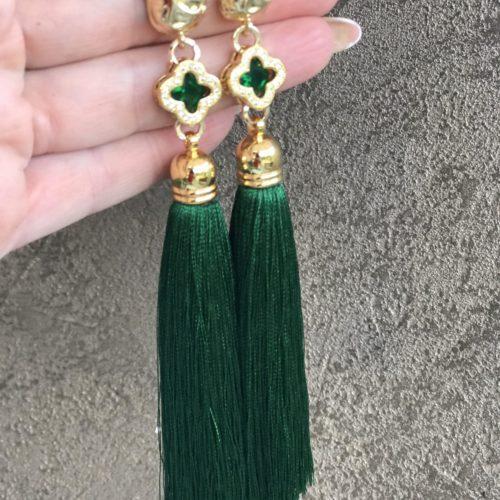 Серьги кисти зеленые