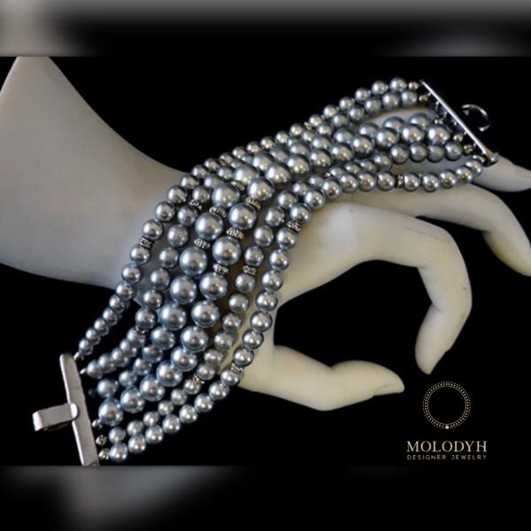 Слейв-браслет из серого жемчуга
