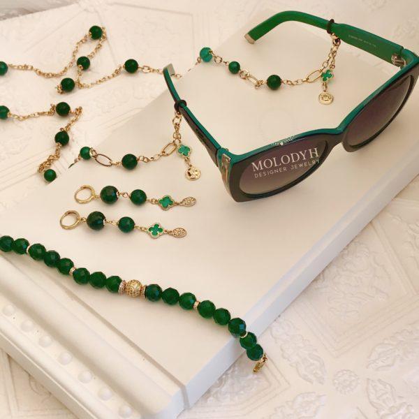 Цепочка на очки из Хризопраза