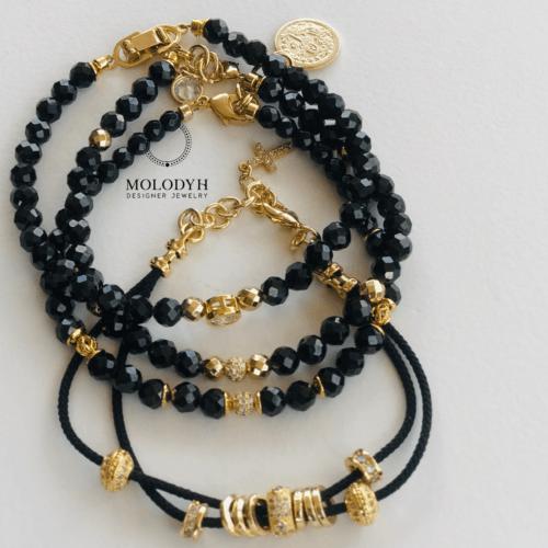 Комплект женских браслетов из драгоценной черной шпинели
