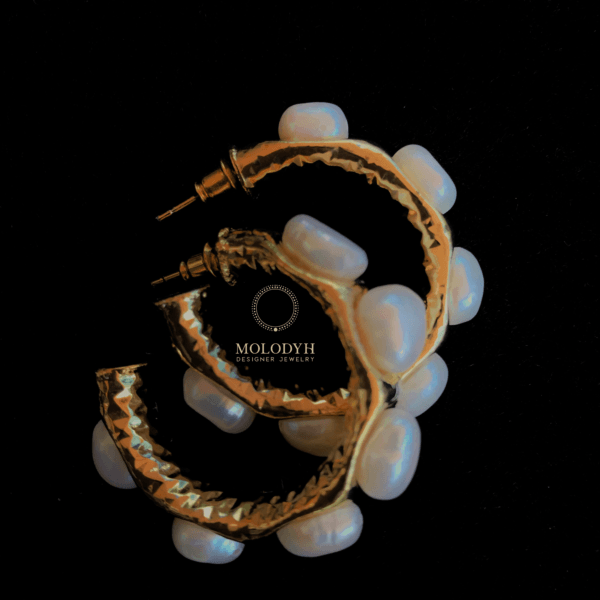 Серьги кольца жемчужные