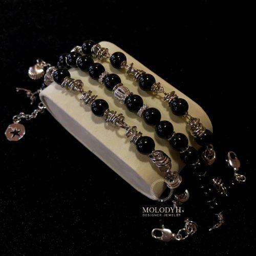 Комплект черных браслетов из Агата