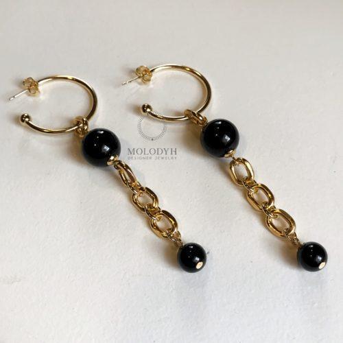 Серьги-кольца длинные с черным агатом