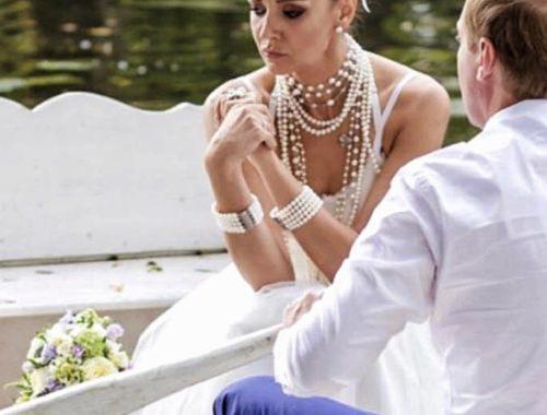 Образ невесты на свадьбе и украшения с жемчугом на заказ фото где купить