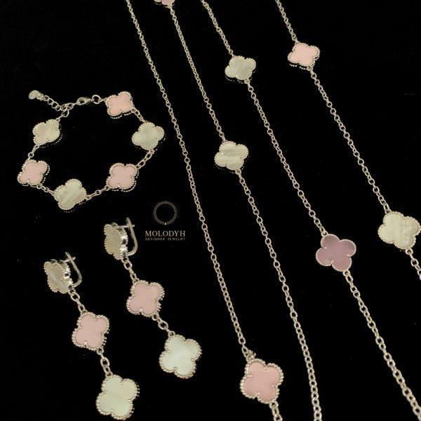 Розовые серьги в стиле Ван Клиф