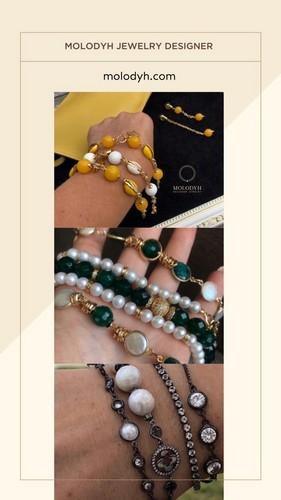 яркие женские браслеты из натуральных камней жемчуга фото цена купить