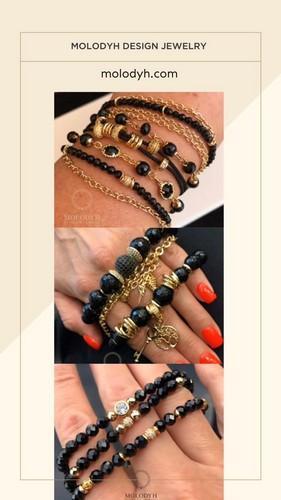 черные браслеты из натуральных камней на резинке на цепях фото цена