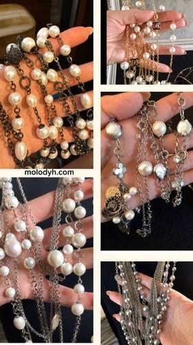 женские длинные украшения на шею цепочки с барочным жемчугом Шанель Ван Клифф фото