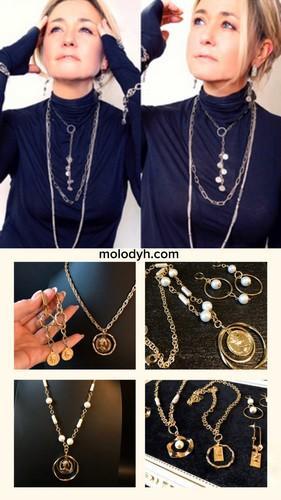 женские длинные цепочки с подвесками под серебро под золото с медальками с монетами