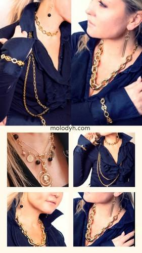 Дутые крупные женские цепи под золото с подвесками
