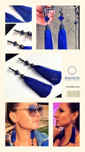 Длинные шелковые серьги-кисти синие №1
