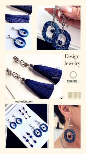 Длинные шелковые серьги-кисти синие №2