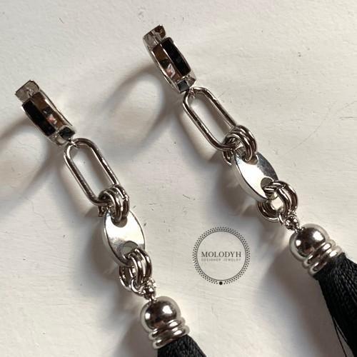 Шелковые серьги-кисти №3 черные