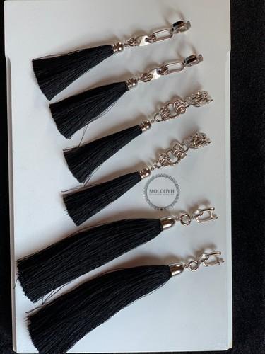 Шелковые серьги-кисти №5 черные