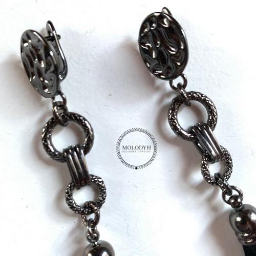 Шелковые серьги-кисти №2 черные