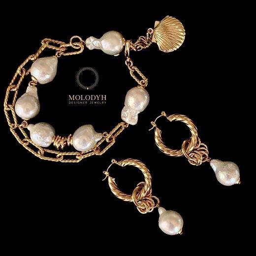 Комплект украшений браслет и серьги Барокко