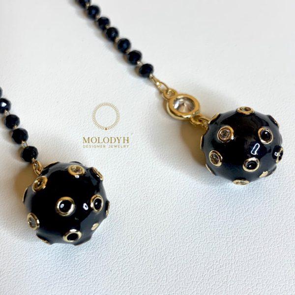 Серьги черные шары