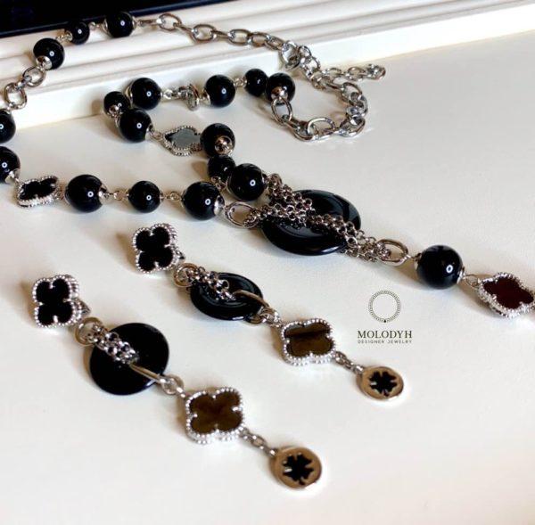 Комплект из черного агата «Бублик»