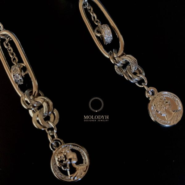 Серьги гвоздики с монетами