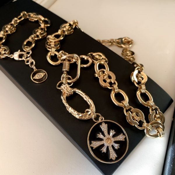 Цепочка с браслетом под золото